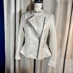 BlankNYC Faux Leather Ruffle Hem Moto Zip Jacket
